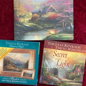3 pc Thomas Kinkade new puzzle with easel, 2 books